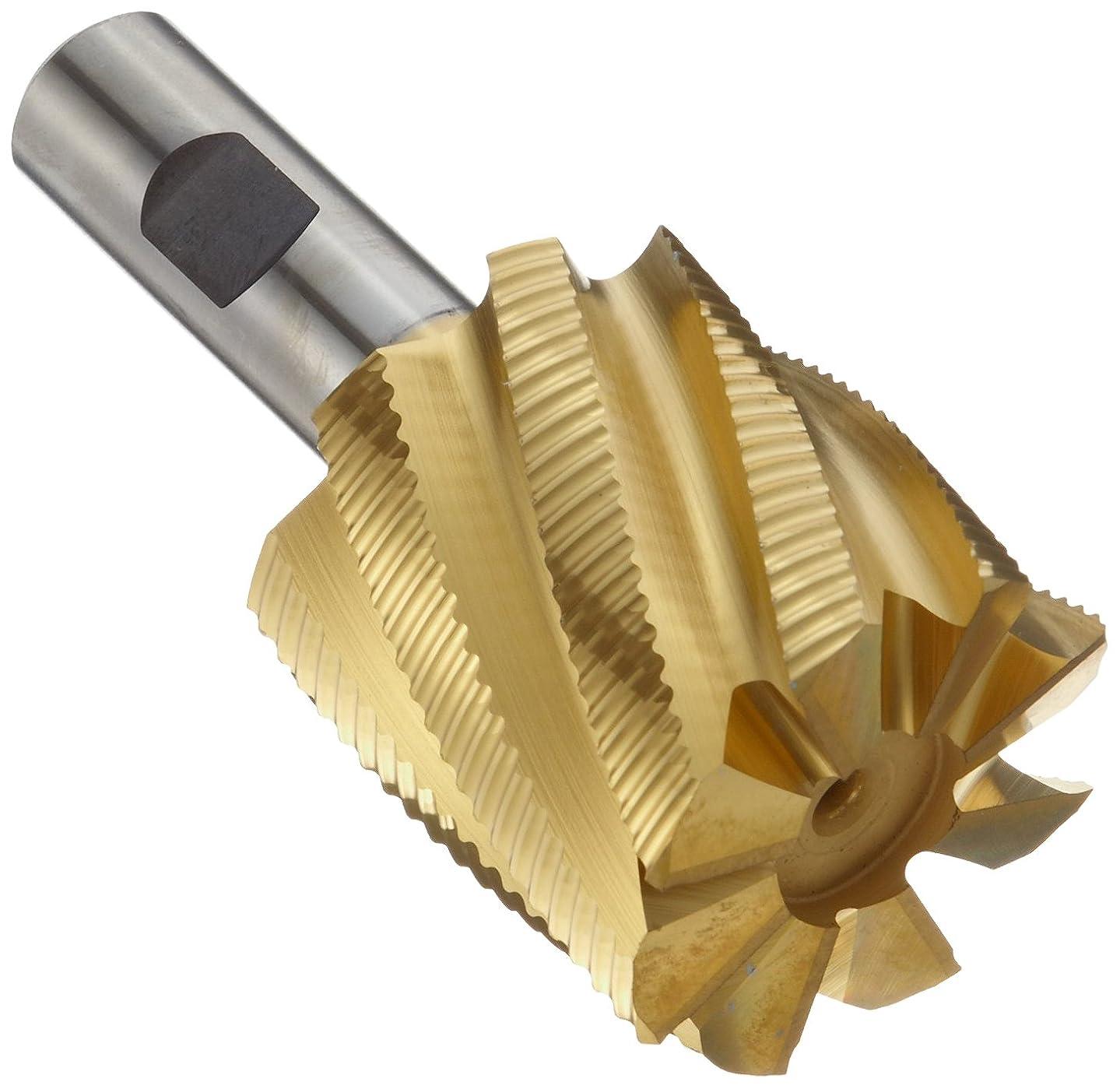 Niagara Cutter N44520 Cobalt Steel Square Nose End Mill, Weldon Shank, TiN Finish, Roughing Cutting, Non-Center, 30-Degree, 4-Flute, 3.375
