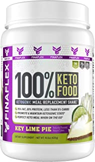 100% KETO FOOD, Ketogenic Meal Replacement Shake, 75% Fat, 20% Protein, Less than 5% Carbs, Promote and Maintain Ketogenesis, Perfect On the Go Keto Meal, 14 Svgs, Key Lime Pie