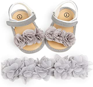 MAHUAOYIXI 2 sandalias de bebé + diadema de flores para niña, antideslizantes, elegantes, zapatos de verano para primera i...