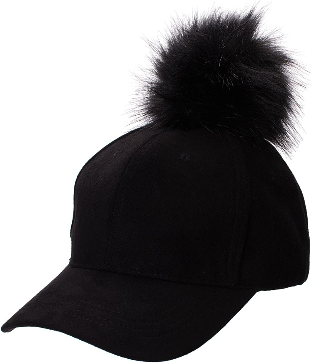 Lawliet Womens Adjustable Suede Baseball Cap Hip-Hop Hat Faux Fur Pom Pom A383