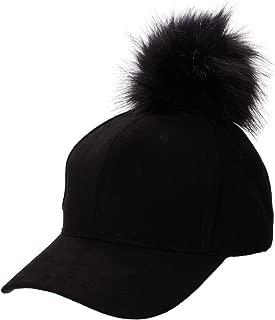 Womens Adjustable Suede Baseball Cap Hip-Hop Hat Faux Fur Pom Pom A383
