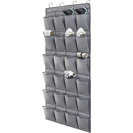 homyfort Range-Chaussures à Suspendre sur la Porte 24 Poches, Stockage de Chaussures, Pliable Collection de Chaussures Sac de Rangement Organisateur avec Crochets, Gris en Lin, X3G12GP2