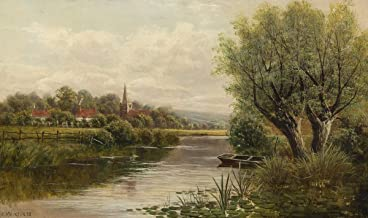 Berkin Arts John Atkinson Grimshaw Giclee Canvas Print Paintings Poster Reproduction(Welsh River Landscape) #XFB