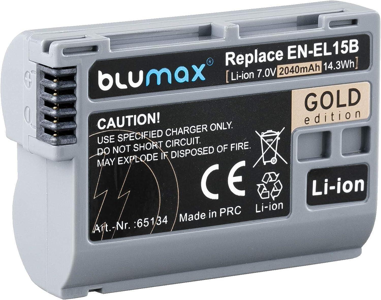 2 unidades, 2040 mAh, compatible con Nikon Z6, Z6 MarkII, Z7, D780, 7,0 V, 14,3 Wh Blumax Gold Edition Bater/ía para Nikon EN-EL15b