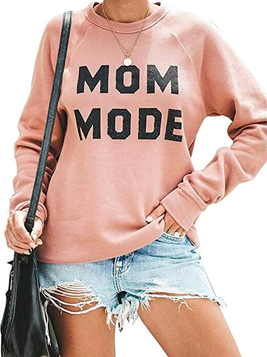 Mom Mode Casual Sweatshirts for Women Letter Print Long Sleeve Lightweight Pullover Tops