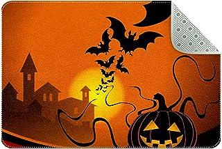 Doormat Custom Indoor Welcome Door Mat, Smiling Pumpkin Home Decorative Entry Rug Garden/Kitchen/Bedroom Mat Non-Slip Rubb...