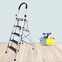 Plantex Platinum 5 Step Foldable Aluminium Ladder for Home Use/Wide Anti Skid Step Ladder (Anodize Coated-Gold)