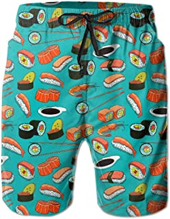 FamilyToy Seafood Sushi Prawn Wasabi Japanese Men's Pocket Swim Trunks Casual Quick Dry Beach Board Shorts