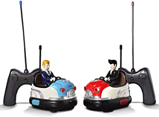 FAO Schwarz RC Toy Bumper Car Set - Remote Controlled Head-to-Head 2-Player Competitive Action - Drivers Eject When Hit, Red/Blue, Medium