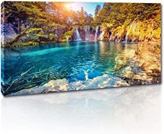 Canvas Wall Art for Living Room Large Size Natural Landscape Painting Waterfall with Pure Blue Water in Plitvice Lakes Artwork Orange Autumn Forest on Background Prints Picture for Office Bedroom