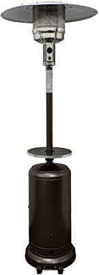 """Hiland HLDS01-WCGT Propane Patio Heater w/Wheels, 48,000 BTU w/Table and 33"""" Heat Shield, Tall, Hammered Bronze"""
