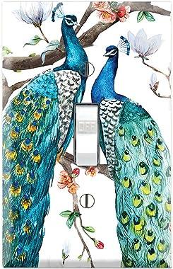 Graphics Wallplates - Peacocks Peafowl Portraits - Single Toggle Wall Plate Cover