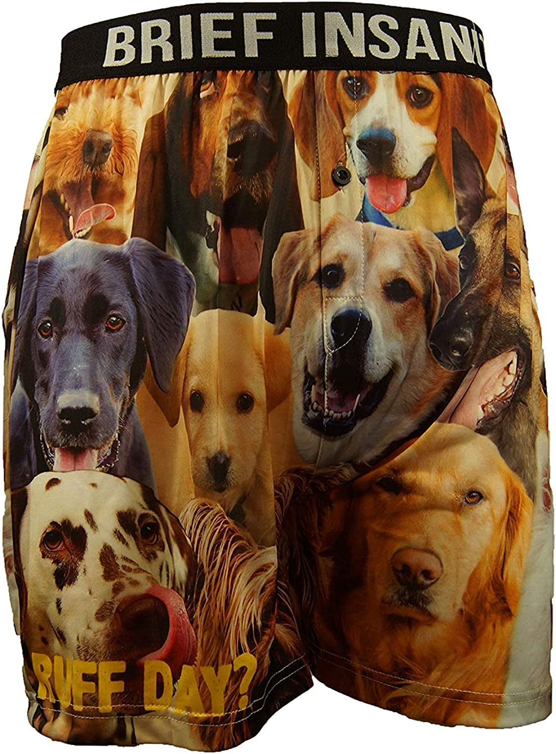 BRIEF INSANITY Dog Boxer Briefs for Men and Women   Animal Puppy Print Boxer Shorts - Funny, Humorous, Novelty Underwear