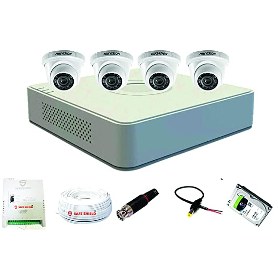 Hikvision 8 Channel DVR & 4 Dome CCTV Camera with Speedlink Cable & Power Supply Surveillance kit