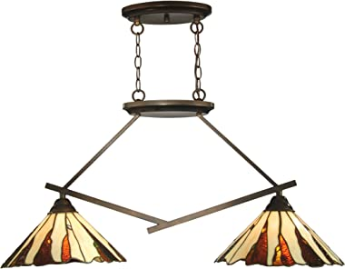 Dale Tiffany TH12435 Tiffany/Mica Two Light Island Fixture from Ripley Collection in Bronze/Dark Finish, 13.00 inches