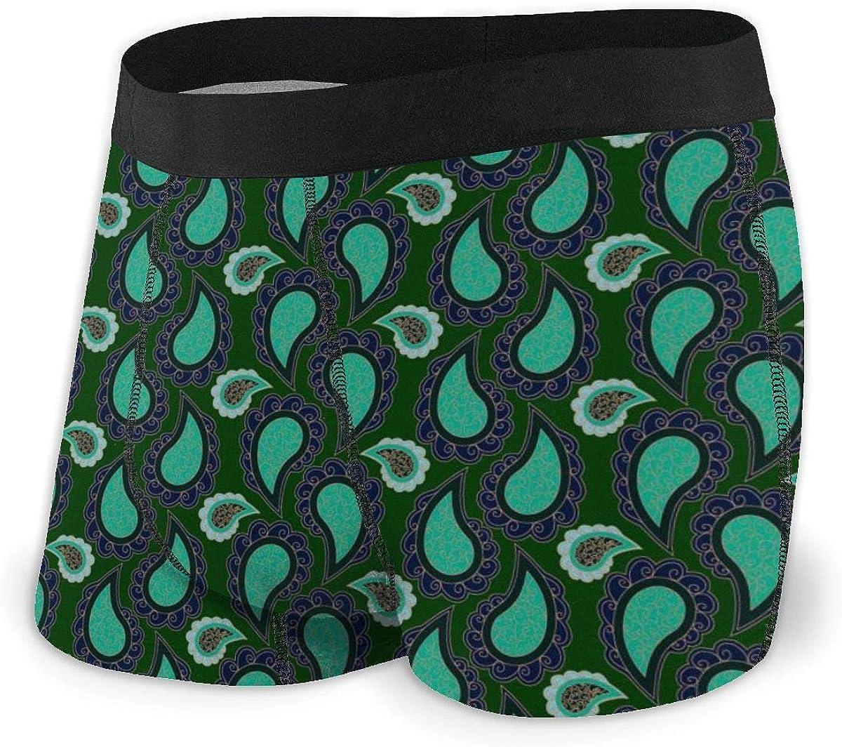 Mens Boxer Briefs Turquoise Green Paisley Unique Breathable Underwear