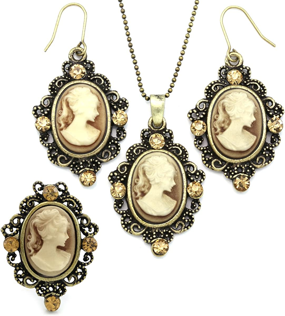Brown Cameo Necklace Fashion Jewelry Ring Set Pendant Charm Dangle Drop Earrings