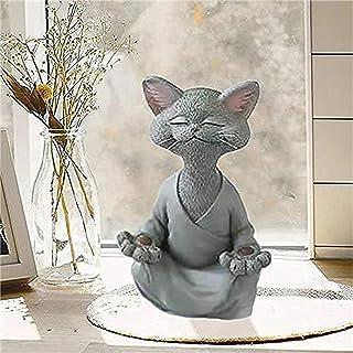 Bouddha Chat Statue - Happy Cat Buddha,Chat Bouddha Statue Méditation Chat Statue Jardin Sculpture Extérieure Décoration, ...