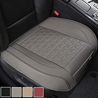 Black Panther Luxury PU Leather Car Seat Cover Protector for Front Seat Bottom,Compatible with 90% Vehicles (Sedan SUV Truck Van MPV), Triangle Quilting Design - 1 Piece,Gray (21.26×20.86 Inches)