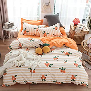 Anjos Orange Duvet Cover Set,Polyester Fabric Bedding Set,Lovely Loquat Simple Brief Pattern Printed on Stripes,Full Size 4pc for Teens Boys Girls