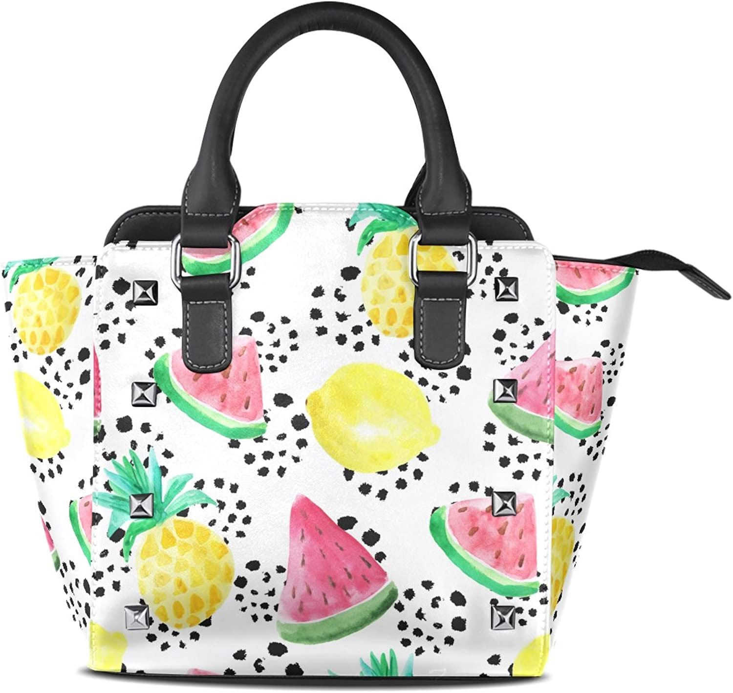My Little Nest Women's Top Handle Satchel Handbag Summer Watercolor Pineapple Lemon Watermelon Ladies PU Leather Shoulder Bag Crossbody Bag