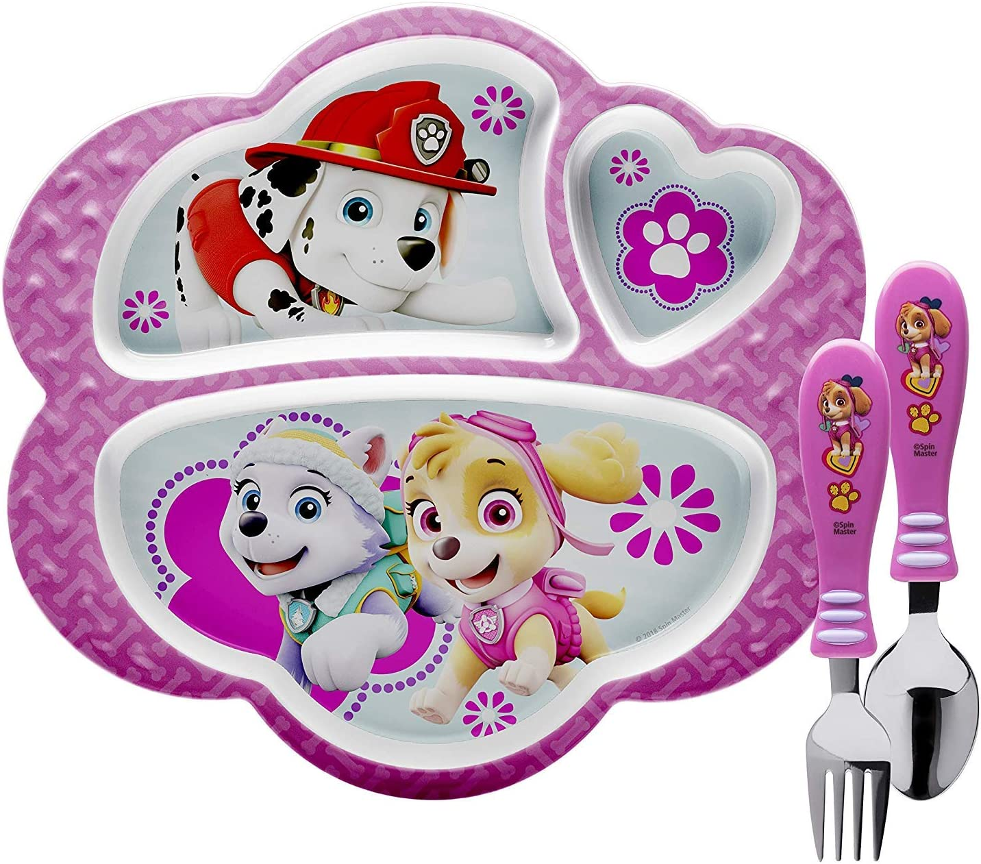 Skye /& Everest, 3 Piece Set, BPA-Free Flatware, Zak Designs Paw Patrol Dinnerware Includes Melamine 3-Section Divided Plate and Utensil Made of Durable Material and Perfect for Kids