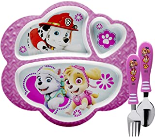 Zak Designs Paw Patrol Dinnerware Includes Melamine 3-Section Divided Plate and Utensil Made of Durable Material and Perfe...