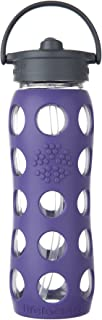 Lifefactory 22-Ounce BPA-Free Glass Water Bottle with Straw Cap and Protective Silicone Sleeve, Royal Purple