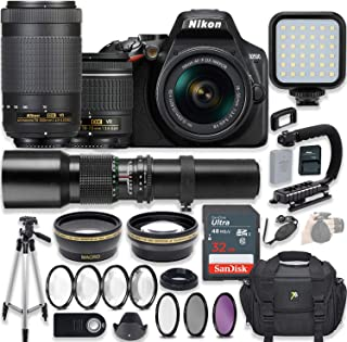 Nikon D3500 DSLR Camera Video Kit with AF-P 18-55mm VR Lens & AF-P 70-300mm ED VR Lens + 500mm Wildlife Preset Lens + LED Light + Professional Photo Accessories