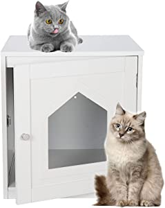 Epetlover Cat Home and Cat Litter Box Furniture Hidden,Kitty Litter Box Enclosure ,Indoor Decorative Cat House,Cat Washroom Storage Bench for Large Cat Kitty