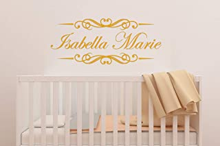 Custom Name Decorative Border Nursery Wall Decal - Girls Personalized Name Decorative Wall Sticker - Custom Name Sign - Custom Name Stencil Monogram - Girls Nursery Wall Decor