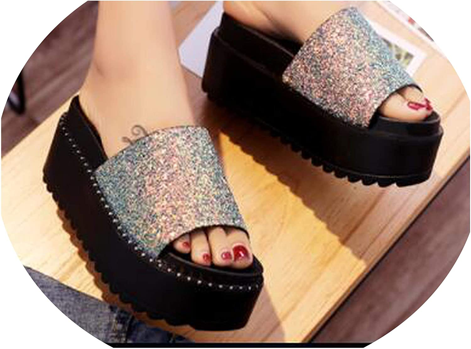 Women Bling Slip on shoes Platform Wedges shoes Ladies Summer flip Flops Rhinestone Beach Slides