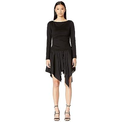 Nicole Miller Ponte Long Sleeve Combo Dress (Black) Women
