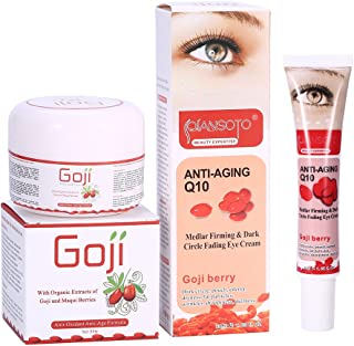 Goji Berry Anti-Aging Face Cream + Dark Circle Wrinkle-Remove Eye Cream for Make Skin Softer/More Elastic (Face+ Eye Night Cream)