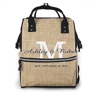 NEPower Rustic Burlap White Monogram M Diaper Backpack - Stylish Multi-Function Diaper Bag Large Capacity Waterproof Travel Backpack for Baby Care