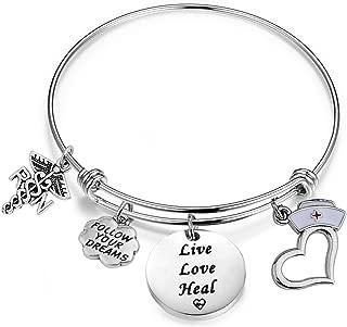 RN Nurse Bracelet Live Love Heal Bangle Bracelet with Caduceus RN Charm Nurse Hat Charm RN Jewelry Gift for Nursing Student