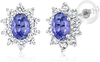 Gem Stone King 10K White Gold Blue Tanzanite Women's Oval Halo Stud Earrings Gemstone Birthstone 1.70 Ct