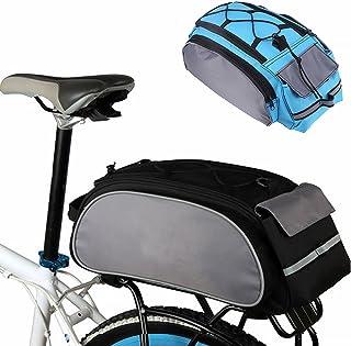 Alforja trasera para bicicleta, gran capacidad, multifunción, bolsa para bicicleta, asiento trasero, cesta de transporte, alforja, color gris, tamaño Tamaño libre
