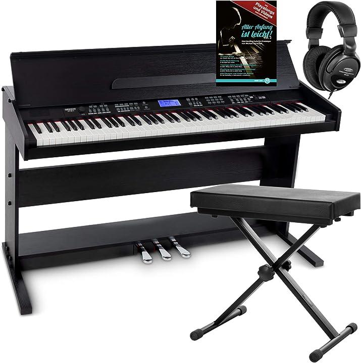 Pianoforte digitale nero, set con panchetta, cuffie e guida (tedesco) funkey dp-88 ii 00059892