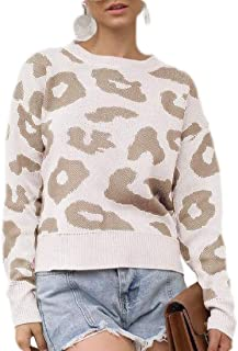 Women's Leopard Print Sweaters Long Sleeve Pullover Baggy Jumper Tops
