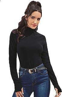 SweatyRocks Women's Turtleneck Rainbow Stripe Long Sleeve Slim Fit T Shirt
