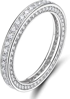 925 Sterling Silver Rings Cubic Zirconia Eternity Engagement Wedding Band Width 3MM Size 4(Silver, 4)