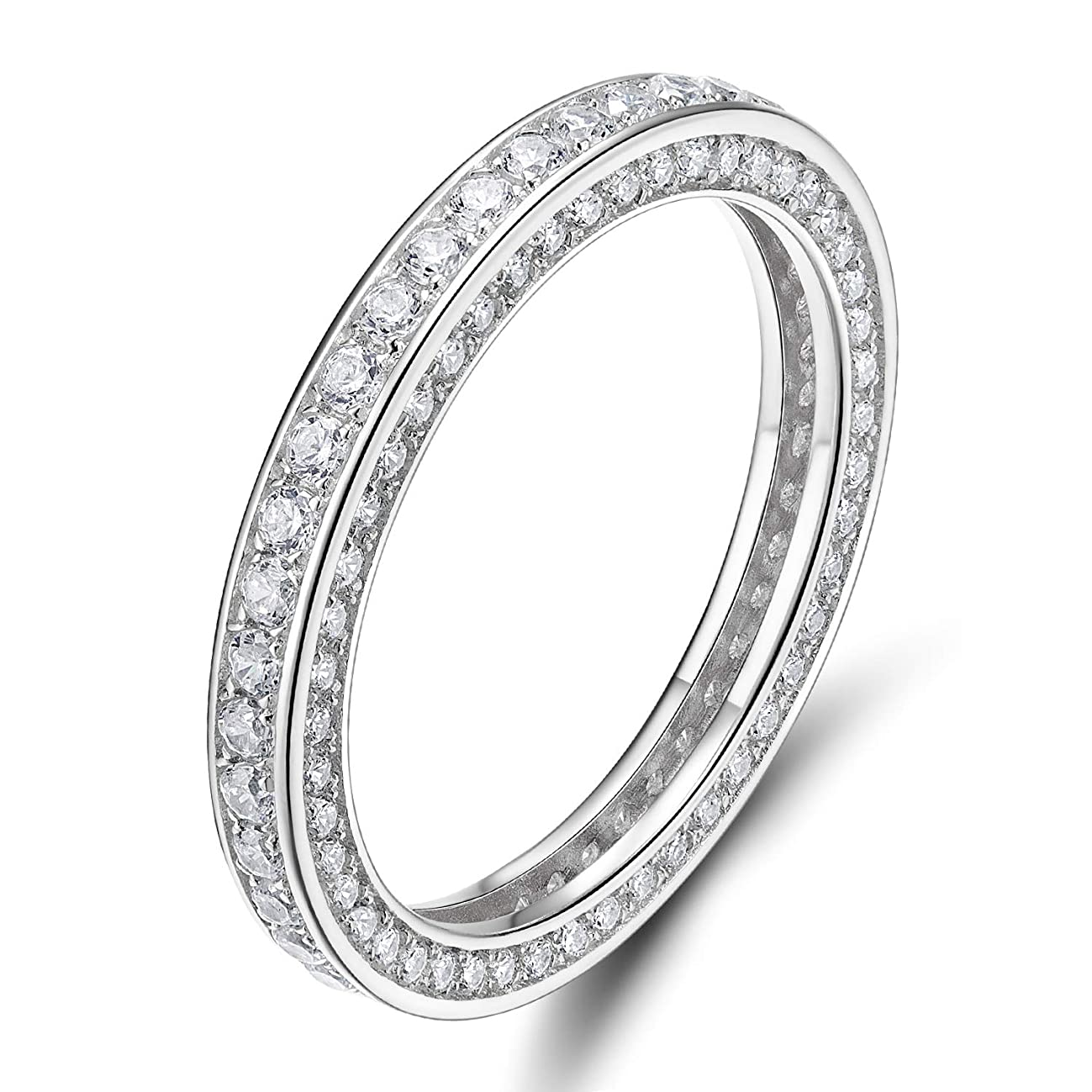 SOMEN TUNGSTEN 925 Sterling Silver Rings Cubic Zirconia Eternity Engagement Wedding Band Width 3MM Size 4-10