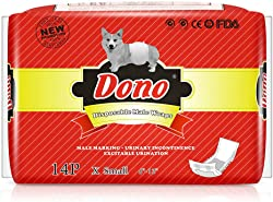 DONO Disposable Male Wraps Dog Diapers Super Absorbent Soft Male Dog Wraps, Including 4 Sizes, Extra Small, Small, Medium, Large, Pet Diapers Dogs Cats