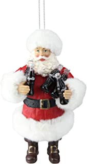 "Kurt Adler 4.75"" Santa Claus Holding Coca-Cola Bottles Christmas Ornament"