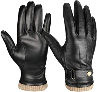 Luxury Mens Nappa Leather Winter Gloves with Thermal Cashmere Wool for Dress/Driving/Hands Warm