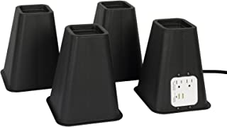Richard's Homewares Bed Risers with USB Ports and Outlets - 7.25 Inch Furniture Riser Bed Lifts, Heavy Duty Set of 4 Bed, Desk and Furniture Risers, Black.