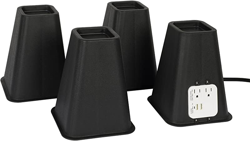Richard S Homewares Bed Risers With USB Ports And Outlets 7 25 Inch Furniture Riser Bed Lifts Heavy Duty Set Of 4 Bed Desk And Furniture Risers Black