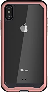 Ghostek Atomic Slim iPhone Xs Max Clear Case with Space Metal Frame Super Heavy Duty Protection Shockproof Military Grade Aluminum Wireless Charging Compatible - 2018 iPhone Xs Max (6.5 Inch) - Pink