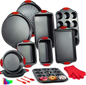 10-Piece Bakeware Sets, Nonstick Baking Set with Baking Pan, Cookie Sheet Pizza Pan, 5-layer Thicken Carbon Steel Baking Sheets with Silicone Handles,Oven Safe Up to 450°F & Dishwasher Safe